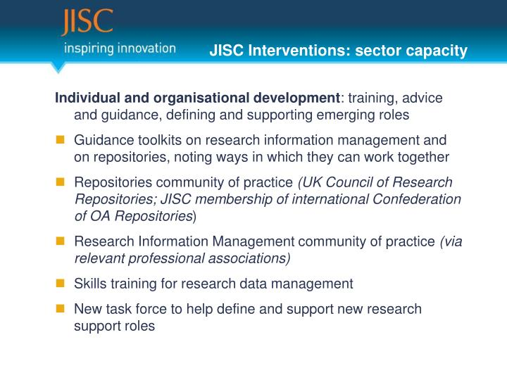 JISC Interventions: sector capacity