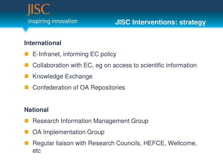 JISC Interventions: strategy