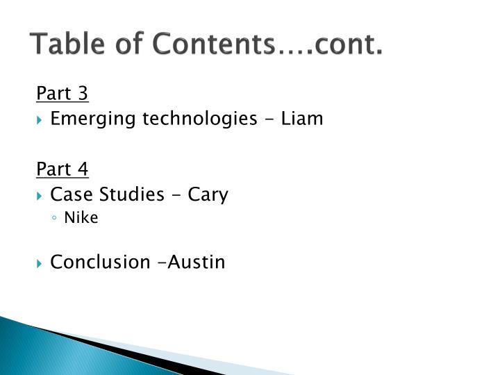 Table of Contents….cont.