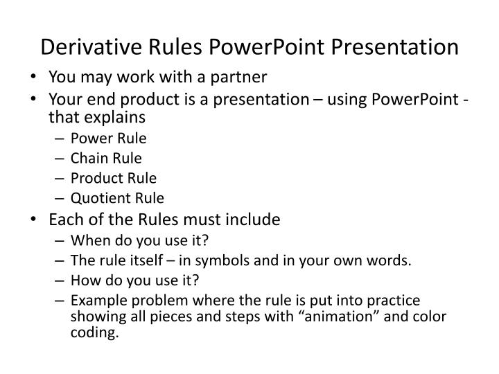 Derivative rules powerpoint presentation