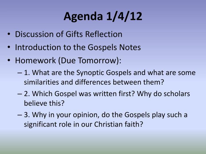 Agenda 1/4/12