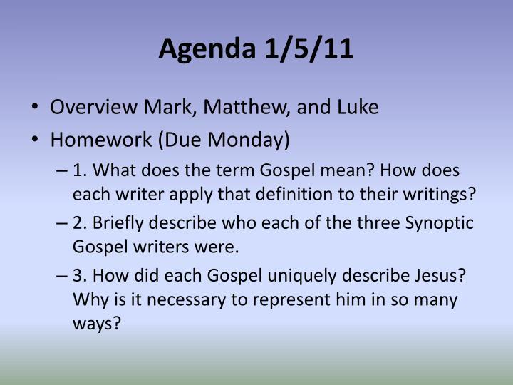 Agenda 1/5/11