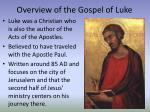 overview of the gospel of luke