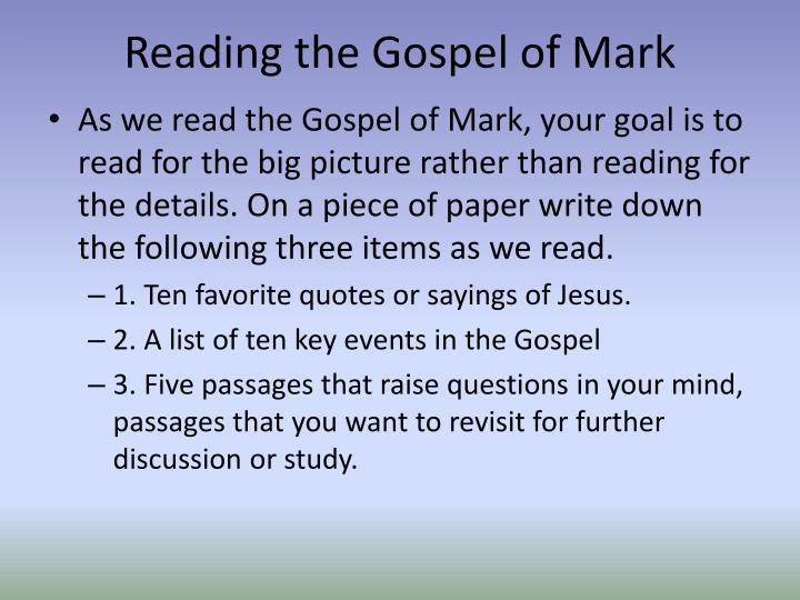 Reading the Gospel of Mark