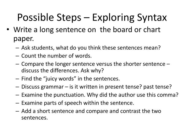Possible Steps – Exploring Syntax