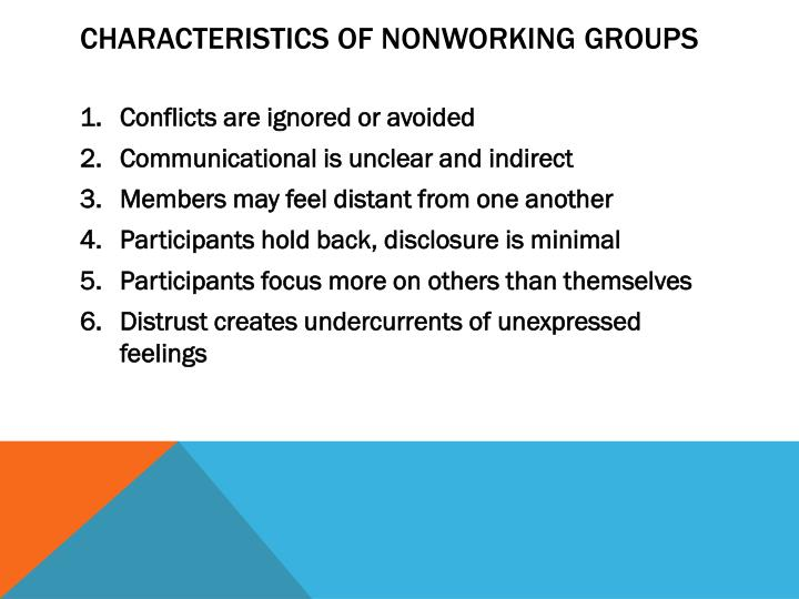Characteristics of nonworking groups