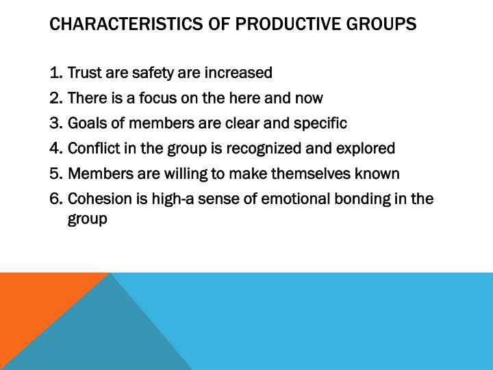 Characteristics of productive groups