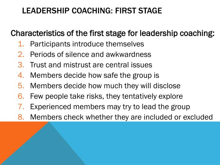 Leadership Coaching: First Stage