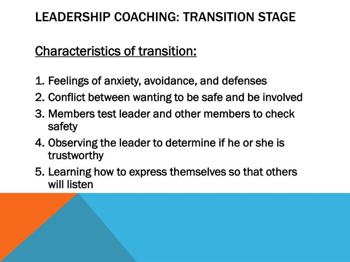 Leadership Coaching: Transition Stage