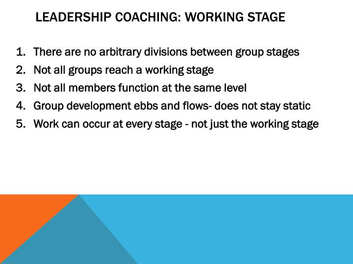 Leadership Coaching: Working Stage