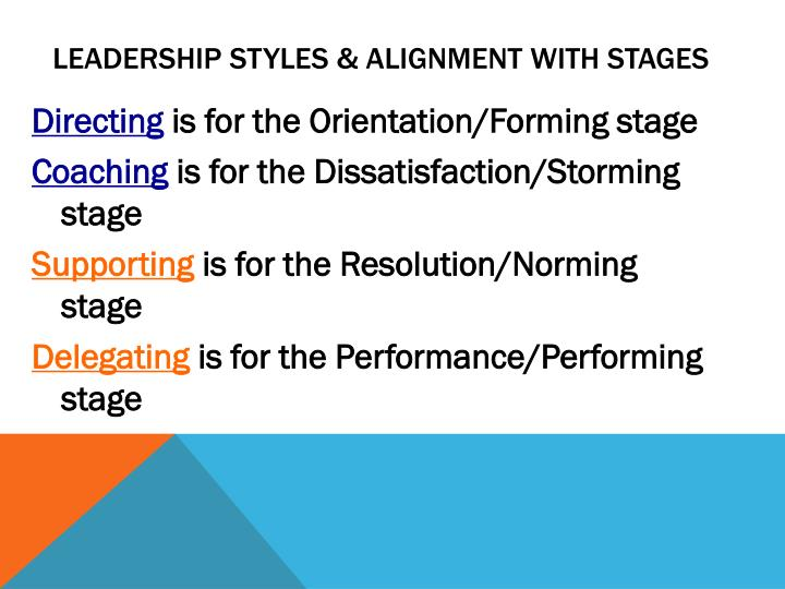 Leadership styles & alignment with stages