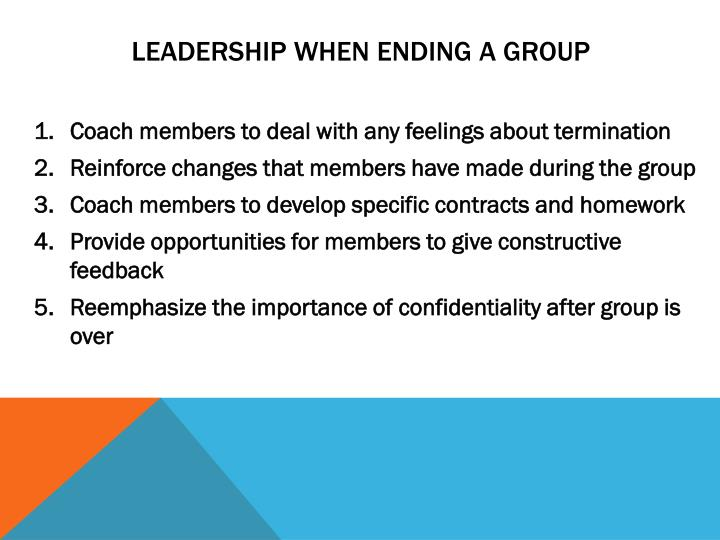 Leadership when ending a group