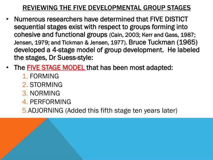 Reviewing the FIVE developmental