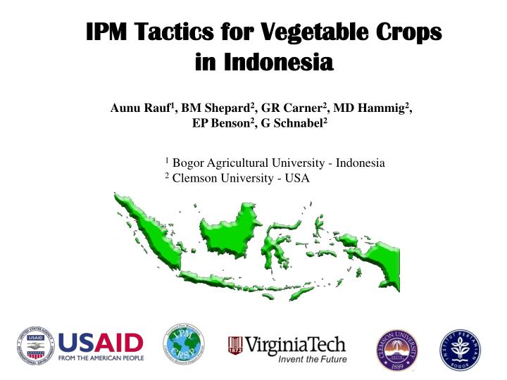 IPM Tactics for Vegetable Crops in Indonesia