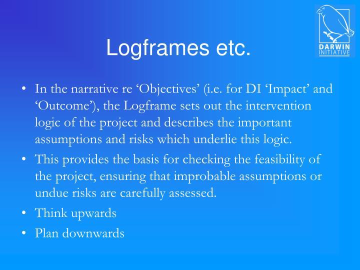 Logframes etc.