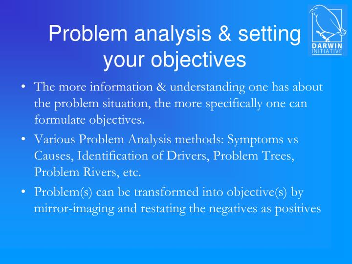 Problem analysis setting your objectives