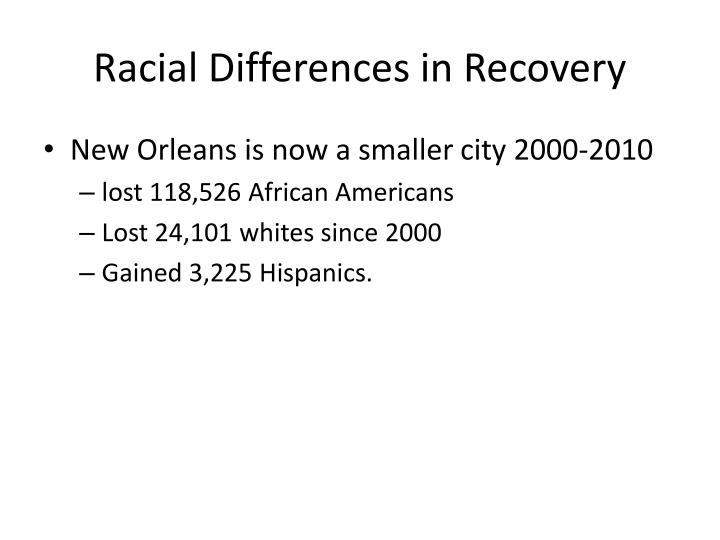 Racial Differences in Recovery