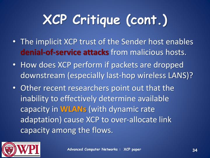 XCP Critique (cont.)