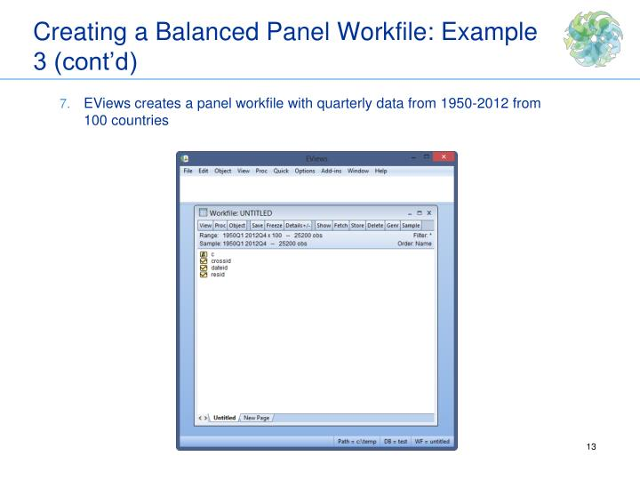 Creating a Balanced Panel Workfile: Example 3 (cont'd)