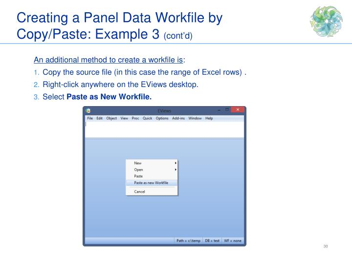 Creating a Panel Data Workfile by Copy/Paste: Example 3