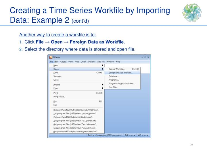 Creating a Time Series Workfile by Importing Data: Example 2