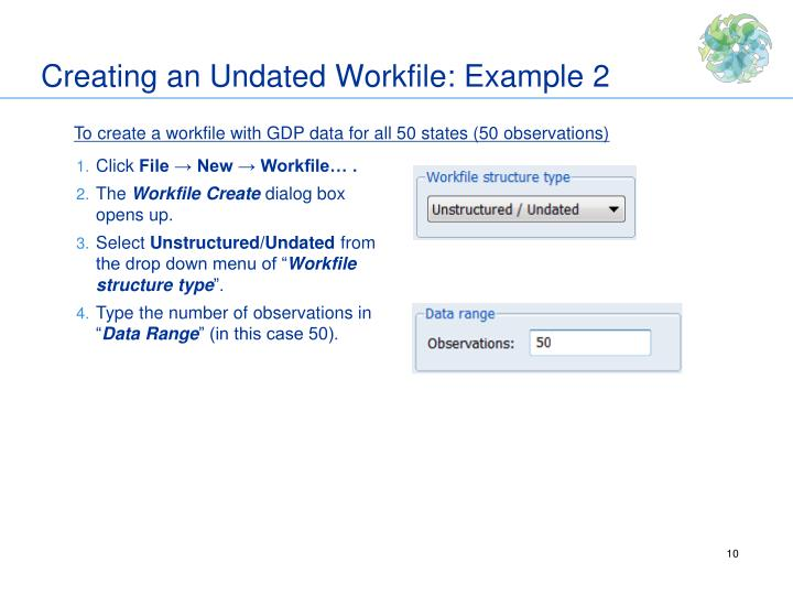 Creating an Undated Workfile: Example 2