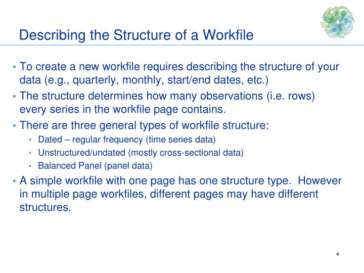 Describing the Structure of a Workfile