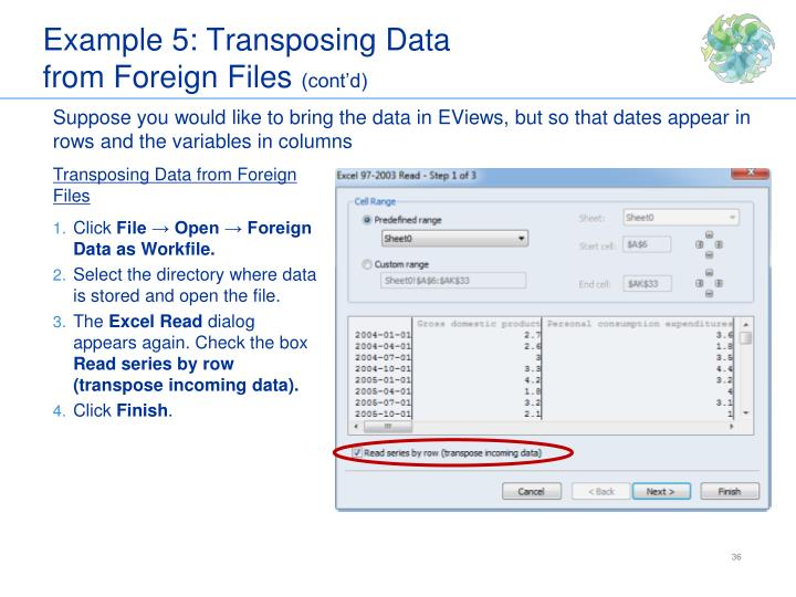 Example 5: Transposing Data