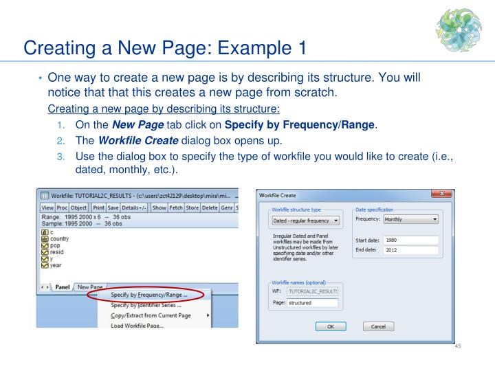 Creating a New Page: Example 1