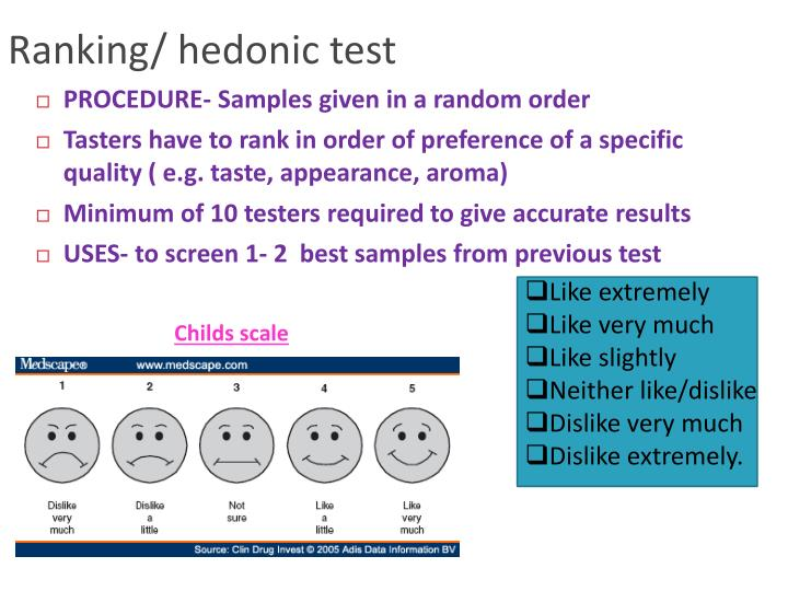 Ranking/ hedonic test
