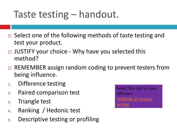 Taste testing – handout.
