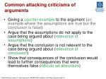common attacking criticisms of arguments