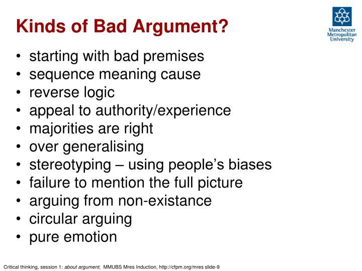 Kinds of Bad Argument?