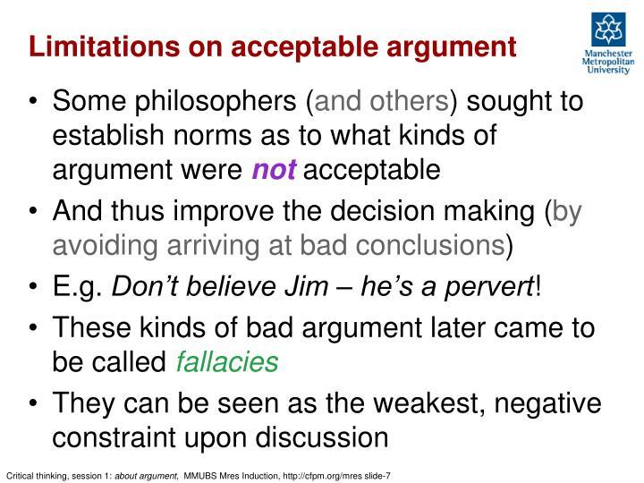 Limitations on acceptable argument
