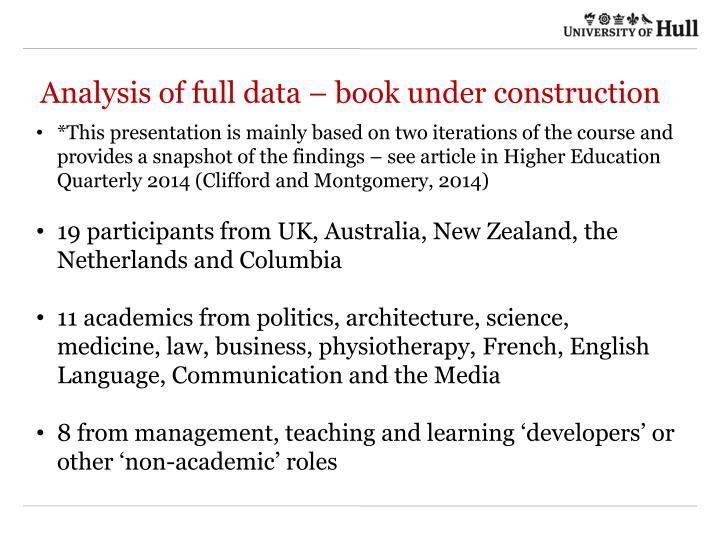 Analysis of full data – book under construction