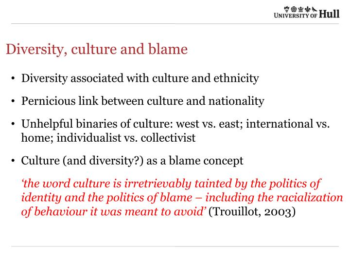 Diversity, culture and blame