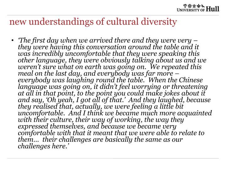new understandings of cultural diversity