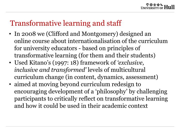 Transformative learning and staff