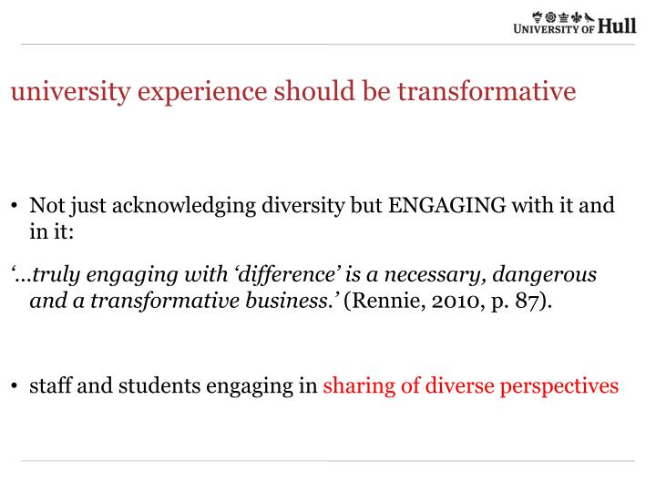 university experience should be transformative