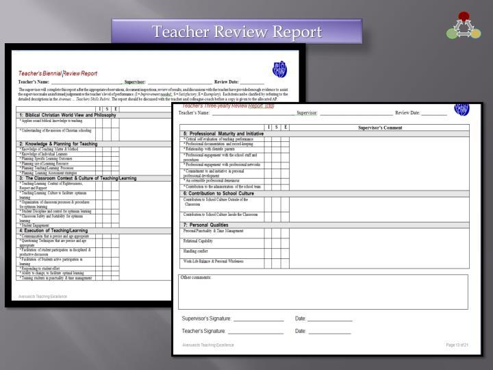 Teacher Review Report
