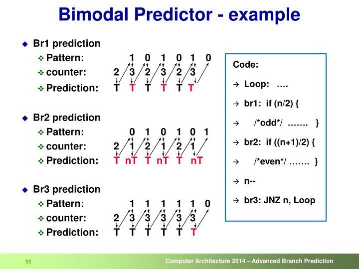 Bimodal Predictor - example