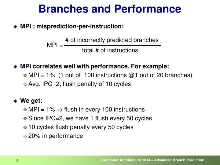 Branches and Performance