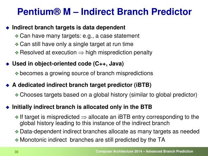 Pentium® M – Indirect Branch Predictor