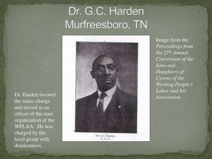 Dr. G.C. Harden