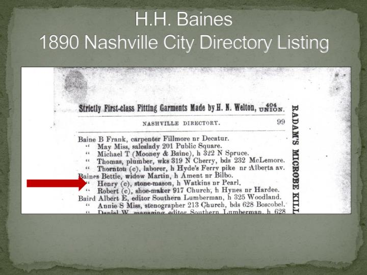 H h baines 1890 nashville city directory listing