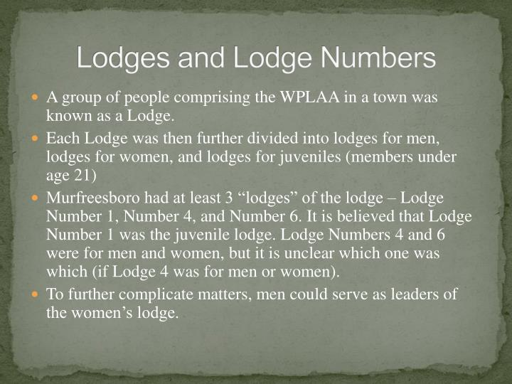 Lodges and Lodge Numbers