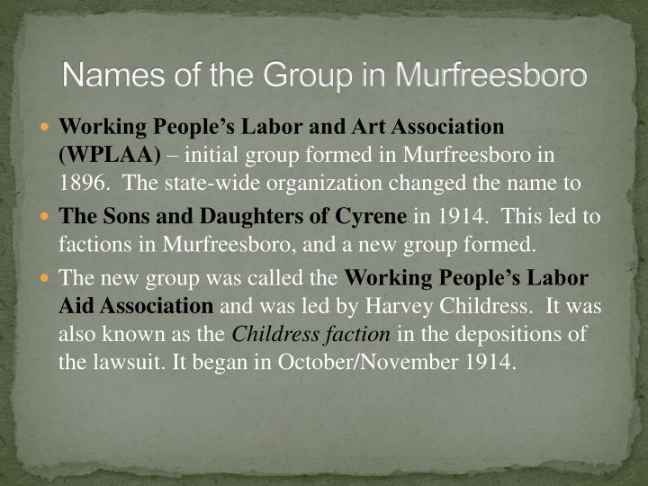 Names of the Group in Murfreesboro