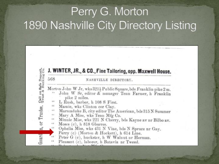 Perry g morton 1890 nashville city directory listing
