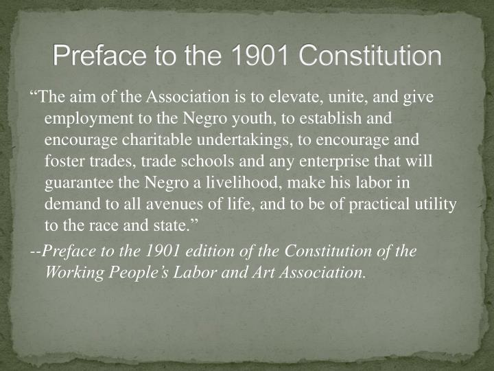 Preface to the 1901 Constitution
