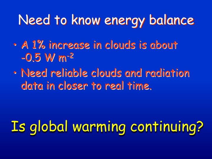 Need to know energy balance
